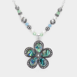 Abalone Flower Beaded Necklace Earrings